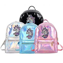 Small shiny unicorn backpack