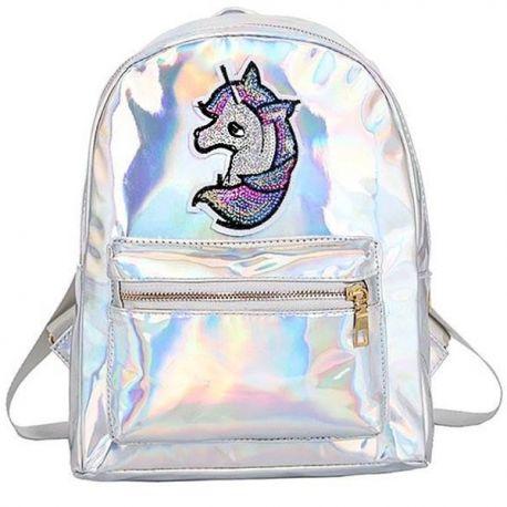 Small shiny unicorn backpack