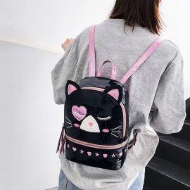 Small shiny cat pattern backpack