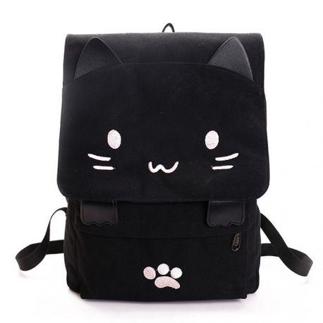Black cat pattern backpack