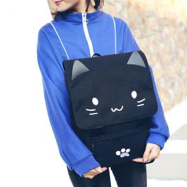 Black cat pattern backpack
