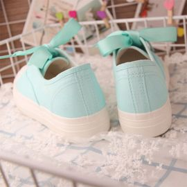 Green sheep pattern canvas sneakers