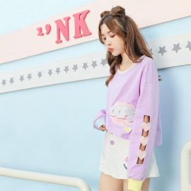 Pink shirt with heart shaped sleeves