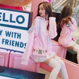 Pink Harajuku style loose hoodie