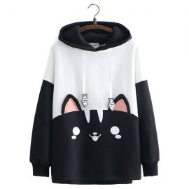 Black & white cat pattern hoodie