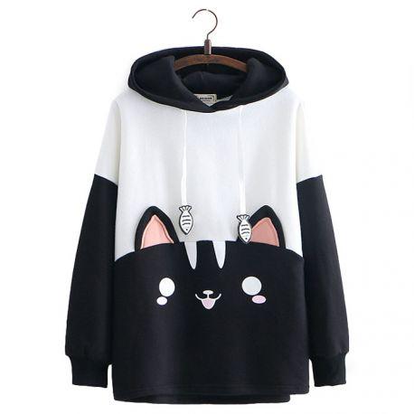 Black & white cat pattern hoodie