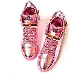 Stylish patent leather sneakers with padlock