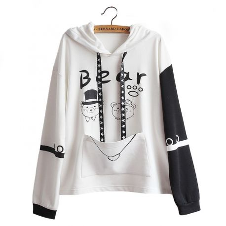 Black & white bear hoodie with ears