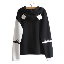 Black & white bear hoodie with ears