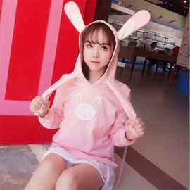 Pink hoodie with swinging rabbit ears