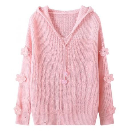 Pink cardigan with flower ornaments