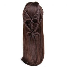 Cosplay long dark brown plaited wig with bangs