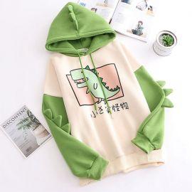 Green Japanese dinosaur hoodie