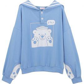 Cute light blue bear sailor hoodie