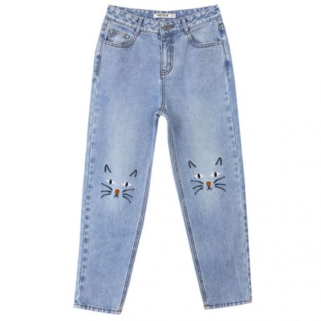 Cute cat pattern jeans