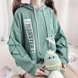Green little monster hoodie