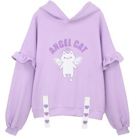 Light purple angel cat hoodie with little wings