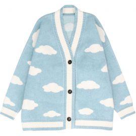 Light blue cloud pattern cardigan