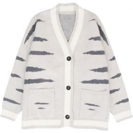 Grey tiger pattern cardigan​​​​​​​