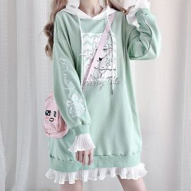 Light green anime style hoodie