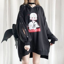 Long black anime style off shoulder hoodie