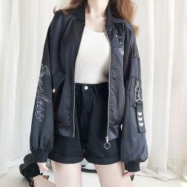 Black cat pattern bomber jacket