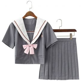 Grey school uniform with pink bow