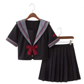 Red black school uniform with red bow