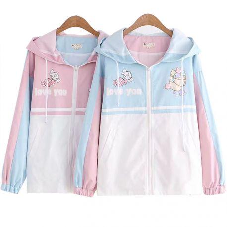 Light kawaii candy jacket with hood