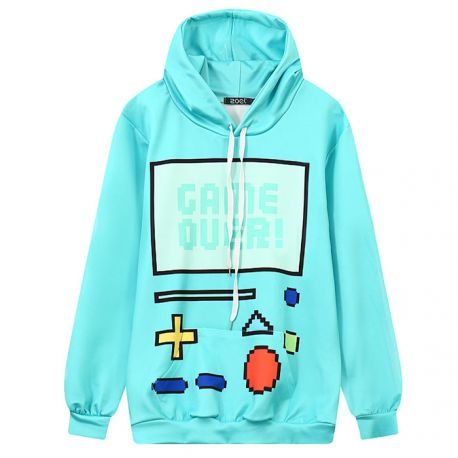 Turquoise green game over hoodie