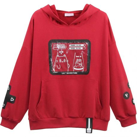 Red game themed cat hoodie