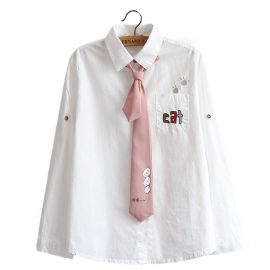 White cat pattern kawaii winter jacket