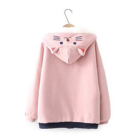 Cute cat pattern kawaii lined hoodie