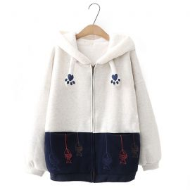 Cute cat pattern kawaii lined hoodie