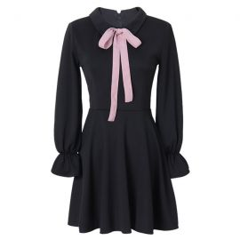 Japanese black dress with pink ribbon