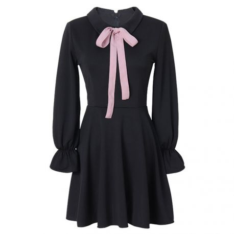 Japanese black dress with pink ribbon