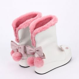 Cosplay lolita cat boots with fur collar