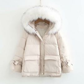Cute down jacket with faux fur collar