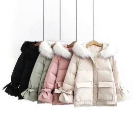 Soft down jacket with faux fur collar