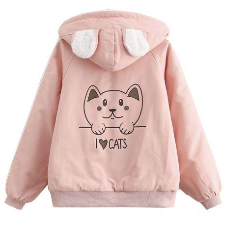 Cute lined i love cats jacket