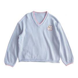 Light blue V-neck sweater