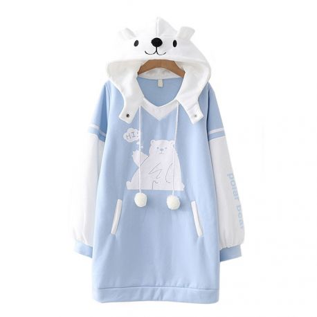 Long light blue teddy hoodie with ears