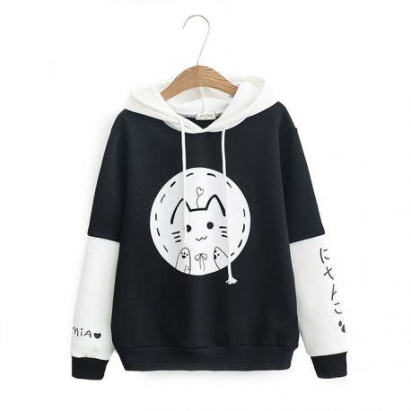 Black/white japanese cat hoodie