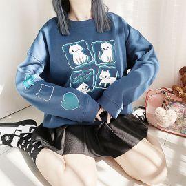 Blue kawaii cat blouse