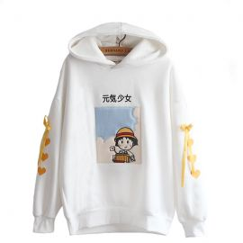 Cute kawaii hoodie with braids