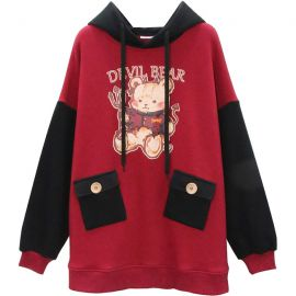 Black and red devil bear hoodie
