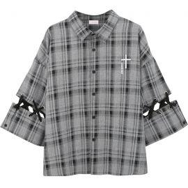 Grey plaid shirt with braided sleeves