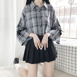 Grey plaid shirt with braided sleeves