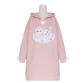 Long cat pattern hoodie with ears