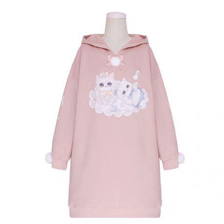 Long cat pattern hoodie with ears